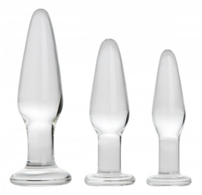 XR Brands PRISMS DOSHA 3 PIECE GLASS ANAL PLUG KIT #XRAE599