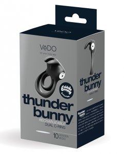 Vedo VEDO THUNDER BUNNY DUAL RING RECHARGEABLE BLACK PEARL #VIBU